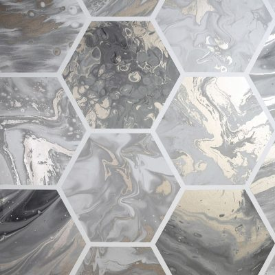 Marbled Hex Wallpaper Charcoal / Rose Gold Arthouse 908502