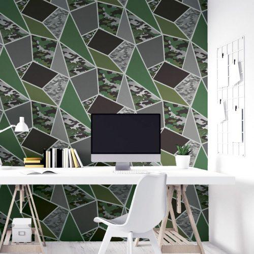 Camo Fragments Wallpaper Green / Grey Arthouse 909709