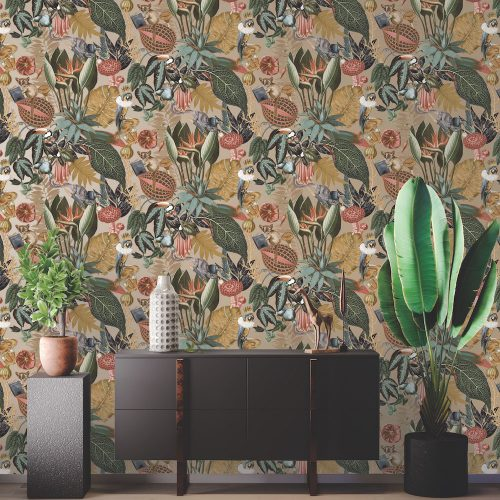 Wonderland Tropical Wallpaper Metallic Gold Holden 91191