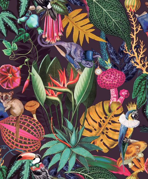 Wonderland Tropical Wallpaper Plum Holden 91192