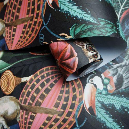 Wonderland Tropical Wallpaper Black Holden 91193
