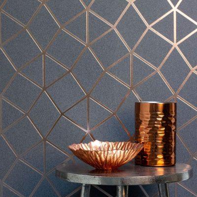 Platinum Geo Trellis Wallpaper Charcoal Copper Fine Decor FD42490