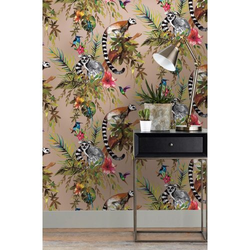 Lemur Wallpaper Metallic Rose Gold Holden 12404