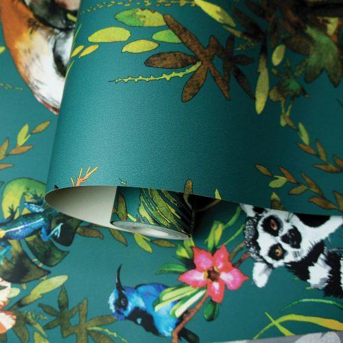 Lemur Wallpaper Teal Holden 12402