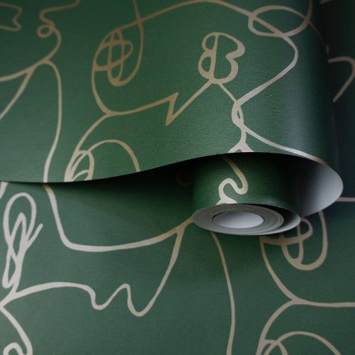 Abstract Faces Green / Gold Holden 12990 Wallpaper