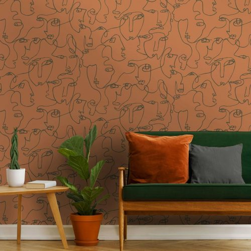 Abstract Faces Burnt Orange Holden 12991 Wallpaper