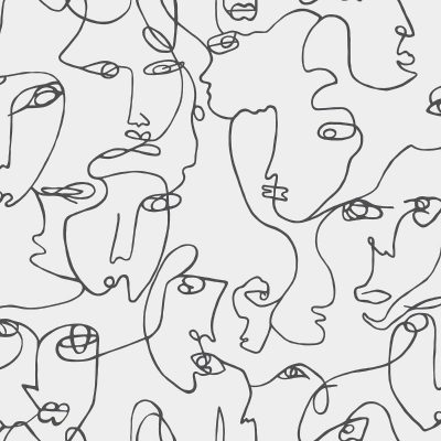Abstract Faces Black / White Holden 12993 Wallpaper
