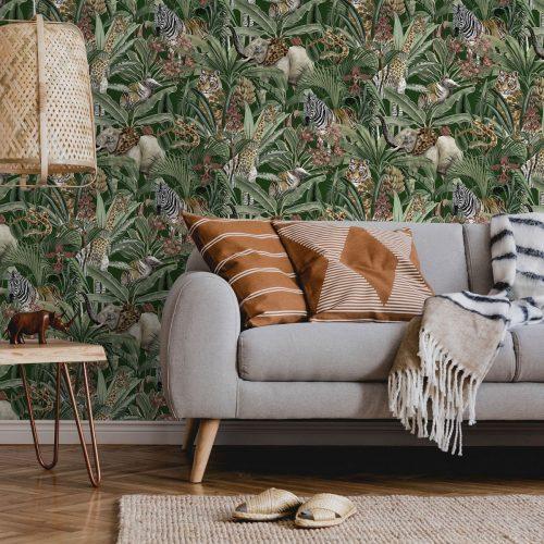 Safari Animal Fusion Wallpaper Green Holden 13010
