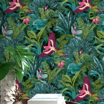 Rasch Tropical Bird Multi 214727 Wallpaper