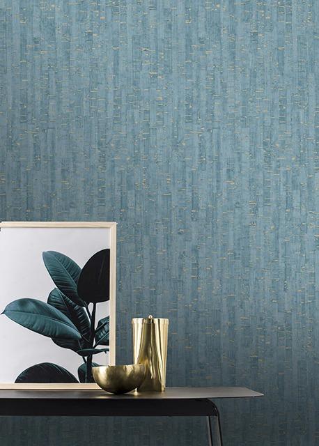 Montado Cork Effect Teal Rasch 279077 Wallpaper