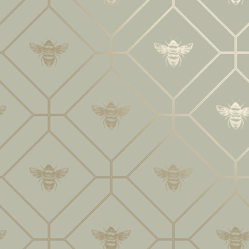 Honeycomb Bee Green 13080 Holden Wallpaper