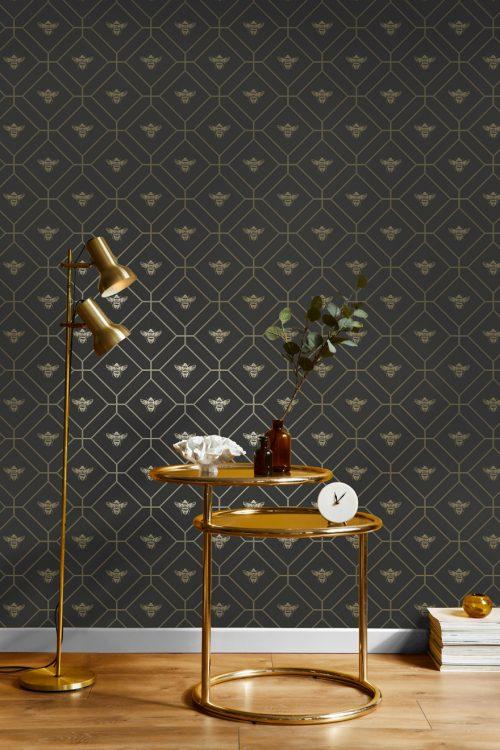 Honeycomb Bee Charcoal Gold 13081 Holden Wallpaper