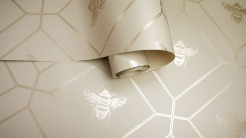 Honeycomb Bee Taupe Gold 13082 Holden Wallpaper
