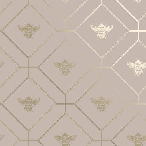 Honeycomb Bee Pink Gold 13083 Holden Wallpaper