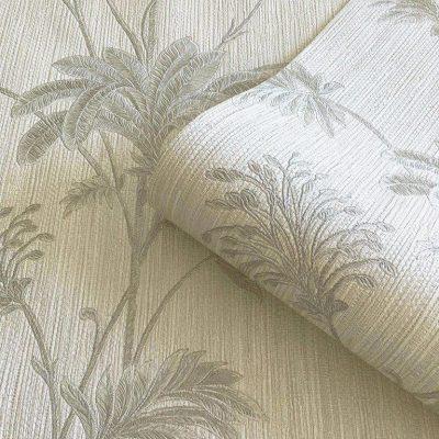 Cream Silver Grasscloth Leaf Belgravia Wallpaper 2914 (GB2914)