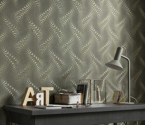 ErismannGraphic Waves Black & Gold Metallic Wallpaper 10146-15