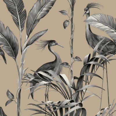 Azzura Leaf Charcoal Gold Metallic 9505 Belgravia Wallpaper