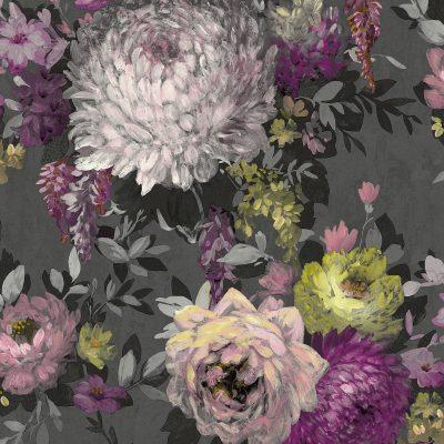 Azzura Floral Charcoal 9510 Belgravia Decor Wallpaper
