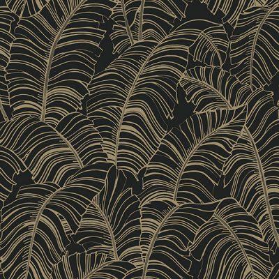 Banana Leaf Black Gold H301 Wallpaper