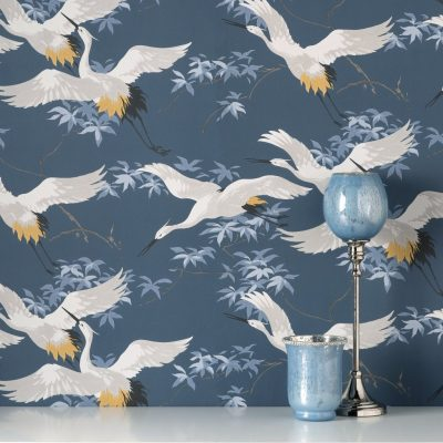 Fine Decor Cranes Navy Blue M1654 Wallpaper