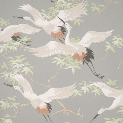 Fine Decor Cranes Grey M1657 Wallpaper