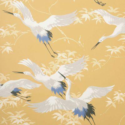 Fine Decor Cranes Mustard M1655 Wallpaper