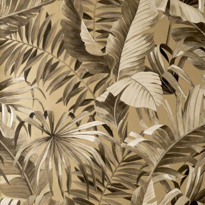 Fine Decor Maui Tropical Gold Metallic FD42853 Wallpaper