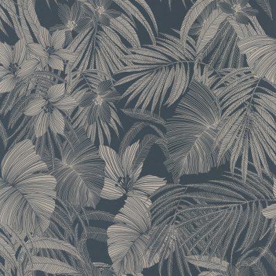 Grandeco Joelle Blue Leaf A51301 Wallpaper