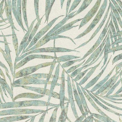 Rasch Palm Fronds Green/Silver 617443 Wallpaper