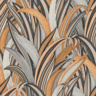 Tropical Grasses Grey Ochre Rasch 541274 Wallpaper