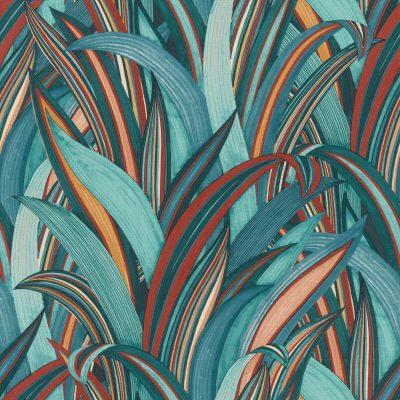 Tropical Grasses Teal Rasch 541250 Wallpaper